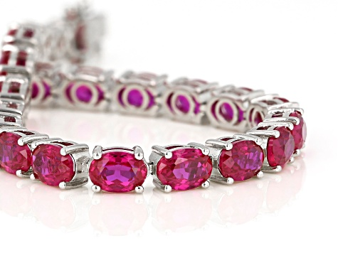 Red Lab Created Ruby Sterling Silver Bracelet 28.50ctw