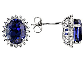 Blue Lab Created Sapphire Rhodium Over Sterling Silver Earrings 6.45ctw