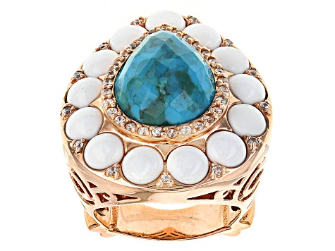 Blue Turquoise 14k Rose Gold Over Sterling Silver Ring .37ctw