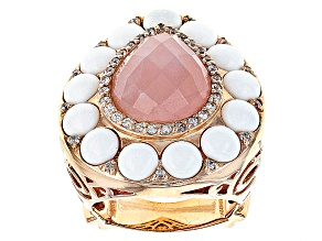 Rose Quartz, White Agate And White Zircon 14k Rose Gold Over Sterling Silver Ring .37ctw