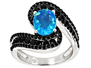 Blue Ethiopian Opal Sterling Silver Ring 2.75ctw