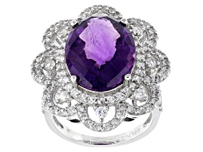 Purple African Amethyst And White Zircon Sterling Silver Ring 10.25ctw