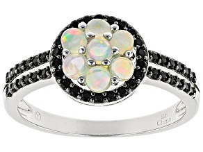 Ethiopian Opal Rhodium Over Sterling Silver Ring 1.28ctw