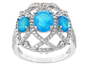Blue Ethiopian Opal Sterling Silver Ring 2.05ctw