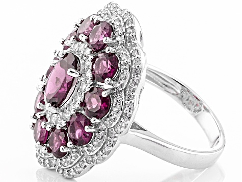 Raspberry color Rhodolite Sterling Silver Ring 6.05ctw