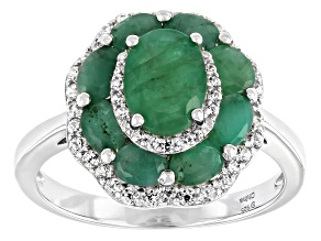 Green Zambian Emerald Rhodium Over Sterling Silver Ring 3.35ctw