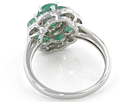 Green Zambian Emerald Sterling Silver Ring 3.35ctw