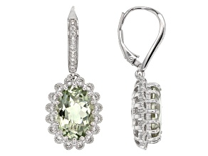 Green Prasiolite Sterling Silver Dangle Earrings 8.86ctw