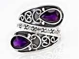 Purple Amethyst Sterling Silver Bypass Ring 3.00ctw