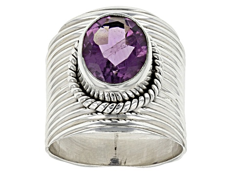 Purple Amethyst Sterling Silver Ring 3.00ct