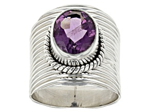 Purple Amethyst Sterling Silver Ring 3.00ct