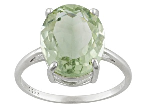 Green Prasiolite Sterling Silver Ring 4.60ctw