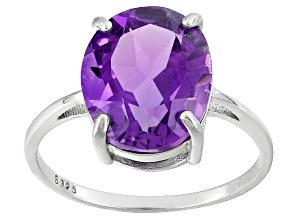 Purple Amethyst Sterling Silver Ring 4.80ctw