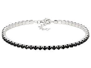 Black Spinel Rhodium Over Sterling Silver Tennis Bracelet 6.48ctw