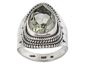 Green Prasiolite Sterling Silver Ring 5.00ct