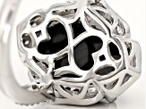 Black Spinel Sterling Silver Ring 5.51ctw