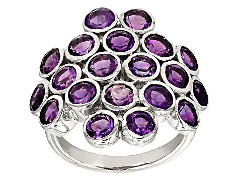 Purple Amethyst Sterling Silver Ring 5.00ctw