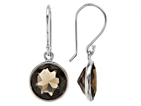 Brown Smoky Quartz Rhodium Over Sterling Silver Earrings 5.00ctw