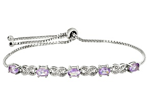 Orchid Amethyst Rhodium Over Sterling Silver Sliding Adjustable Bracelet 1.75ctw