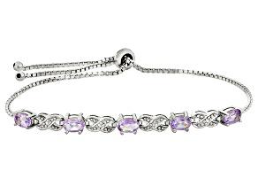 Rose de France Amethyst Rhodium Over Sterling Silver Sliding Adjustable Bracelet 1.75ctw