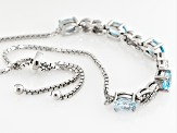Blue Topaz Sterling Silver Sliding Adjustable Bracelet 2.50ctw