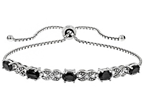 Black Sapphire Rhodium over Silver Bolo Bracelet 2.50ctw