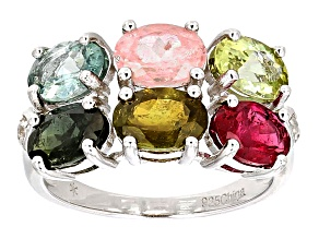 Multi-Tourmaline Sterling Silver Band Ring 4.67ctw