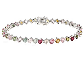 Multi-Tourmaline Sterling Silver Bracelet 6.00ctw