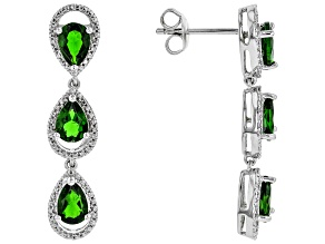 Green Chrome Diopside Sterling Silver Earrings 4.71ctw