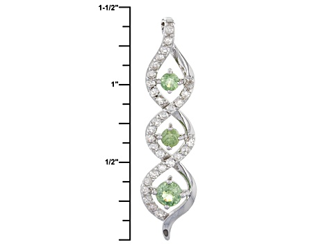 Green Demantoid Sterling Silver Pendant With Chain 1.29ctw