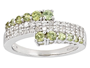 Green Demantoid Sterling Silver Ring 1.28ctw