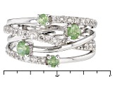 Green Demantoid Sterling Silver Ring 1.36ctw