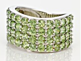 Green Demantoid Sterling Silver Ring 5.50ctw