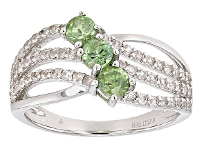 Green Demantoid Sterling Silver Ring 1.16ctw