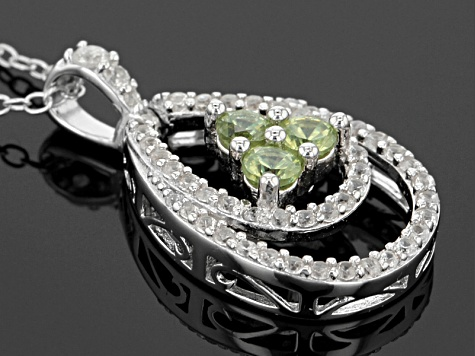 Green Demantoid Sterling Silver Pendant .85ctw
