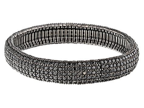 Black Spinel Sterling Silver Stretch Bracelet 17 32ctw