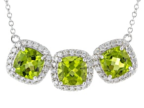 Green Peridot Sterling Silver Necklace 8.80ctw