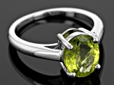 Green Peridot Sterling Silver Ring 2.50ct