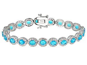 Blue Ethiopian Opal Sterling Silver Bracelet 9.21ctw