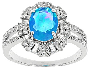 Blue Ethiopian Opal Sterling Silver Ring 2.25ctw