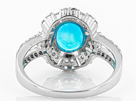 Blue Opal Sterling Silver Ring 2.25ctw