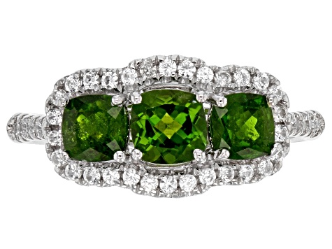 Green Chrome Diopside Sterling Silver Ring 1.90ctw