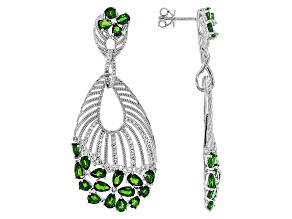 Green Chrome Diopside Sterling Silver Earrings 9.00ctw