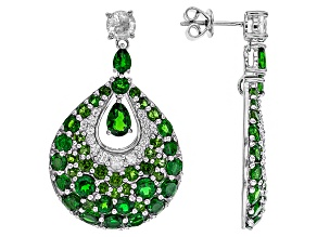 Green Chrome Diopside Sterling Silver Earrings 10.05ctw