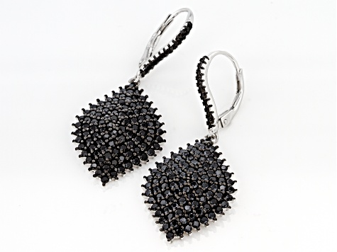 Black Spinel Sterling Silver Earrings 3.48ctw