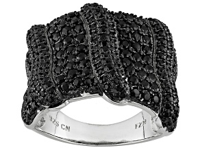 Black Spinel Sterling Silver Ring 2.10ctw