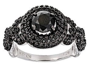 Black Spinel Sterling Silver Ring 1.75ctw