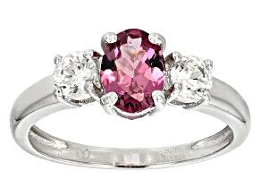 Pink Garnet Sterling Silver Ring 1.35ctw