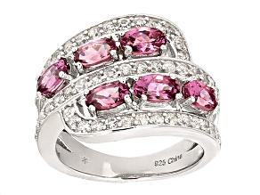 Pink Garnet Sterling Silver Ring 2.75ctw
