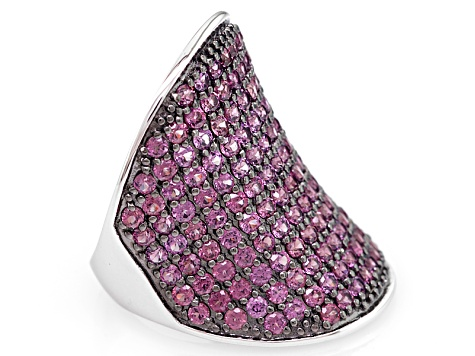 Raspberry color Rhodolite Sterling Silver Ring 3.25ctw